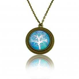 """Collier""""Sweet nature - Tree"""" en métal bronze et cabochon de verre"""
