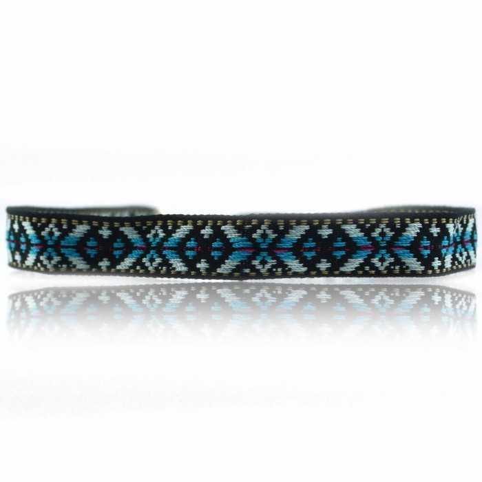 """Collier """"Blue Inca"""" en tissu et métal argenté"""