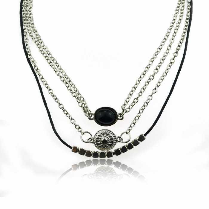 """Collier """"Triple Chocker"""" en métal argenté, cuir et perle"""