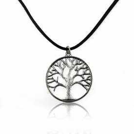 """Collier """"Tree of Life"""" en métal argenté er cordon de cuir"""