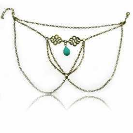 """Bracelet de bras """"Moonlight"""" en métal doré vieilli et turquoise"""