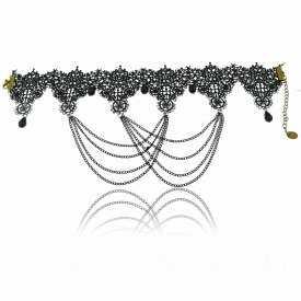 """Collier """"Dentelle Précieuse"""" en métal argenté, dentelle et perles"""