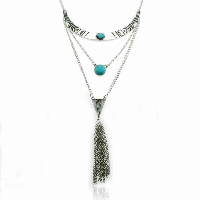 """Collier """"Tribal Inca""""en métal et turquoise"""