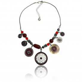 "Collier ""Ikita - Hindi"" en métal argenté, émail et perles"