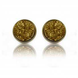 """Boucles d'oreilles """"Glitter - Granit"""" en métal doré vieilli"""