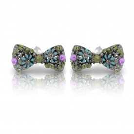 """Boucles d'oreilles """"Nodo"""" en métal anthracite et strass"""