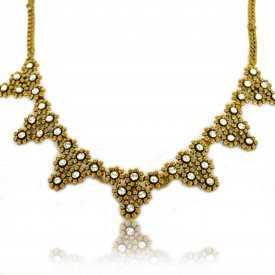 "Collier fantaisie ""Strass Triangles"" en métal doré et strass"