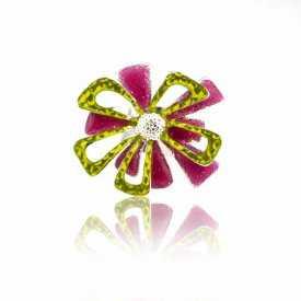 """Parure """"Ikita - Fleur de Noël"""" en métal argenté et émail - Multicolore"""