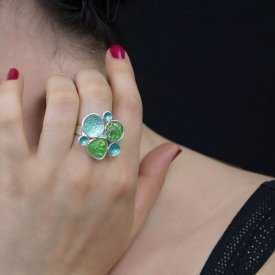 """Parure """"Ikita - Bubbles"""" en métal argenté et émail, sur câble - Vert"""