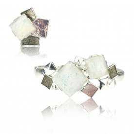 """Parure """"Ikita - Squares"""" élastiqué en métal argenté, résine et émail - rose"""