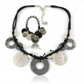 """Parure """"Ikita - Ethnies"""" en métal argenté, sur corde"""