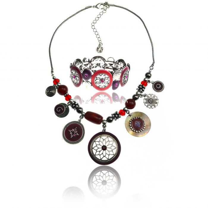 "Parure ""Ikita - Hindi"" en métal argenté, émail et perles"