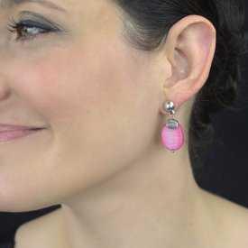 """Parure fantaisie """"Ikita - Pastelito"""" en métal argenté et perles de verre, sur câbles - Multicolore"""