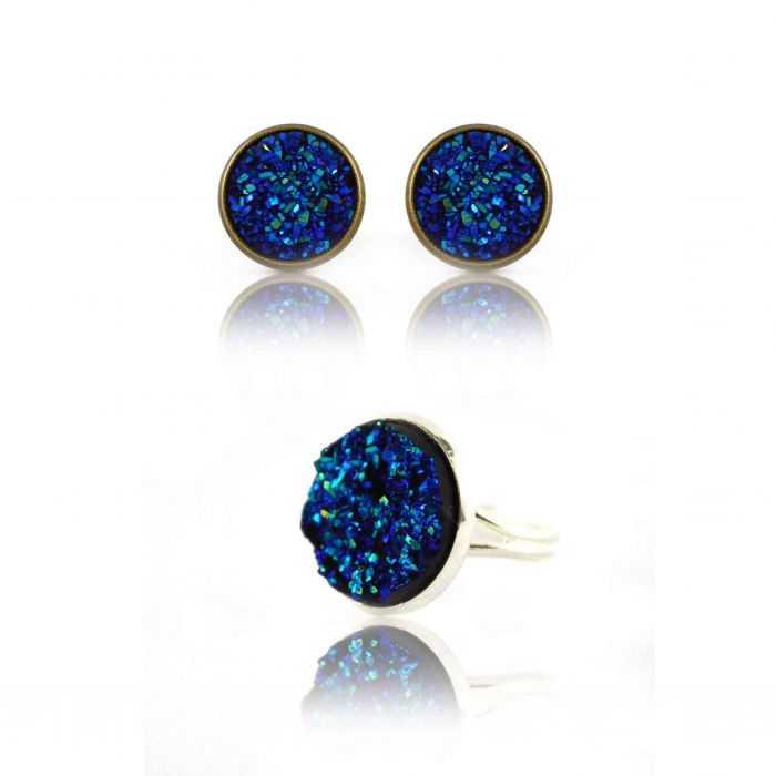 "Parure ""Glitter - Granit"" en métal doré vieilli - Bleu"