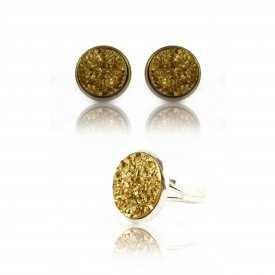 """Parure """"Glitter - Granit"""" en métal doré vieilli - Doré"""
