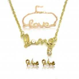 """Parure fantaisie """"Love"""" en métal doré, perle et strass - Doré"""