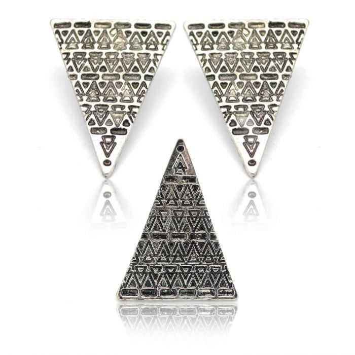 """Parure fantaisie 'Triangle"""" en métal - Argenté"""