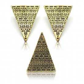 """Parure fantaisie 'Triangle"""" en métal - Doré"""