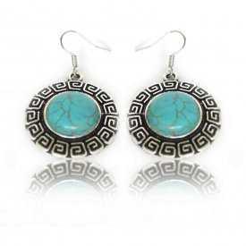 """Parure fantaisie """"Grèce Antique"""" en métal argenté et turquoise"""