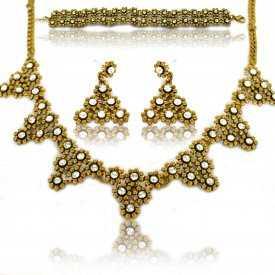 """Parure """"Strass Triangles"""" en métal doré et strass - Doré"""