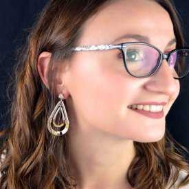 """Boucles d'oreilles """"Ikita - Opium"""" en métal, émail et corde"""