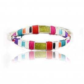 "Bracelet ""Ikita - Opium"" en métal, émail et corde"