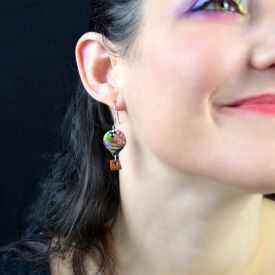 """Boucles d'oreilles """"Liz'Créations - Mongolfière"""" en argile polymère"""