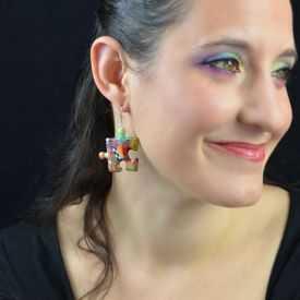 """Boucles d'oreilles """"Liz'Créations - Grand Puzzle"""" en argile polymère"""