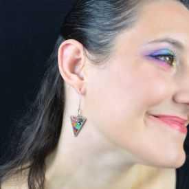 """Boucles d'oreilles """"Liz'Créations - Triangle Serti"""" en argile polymère"""