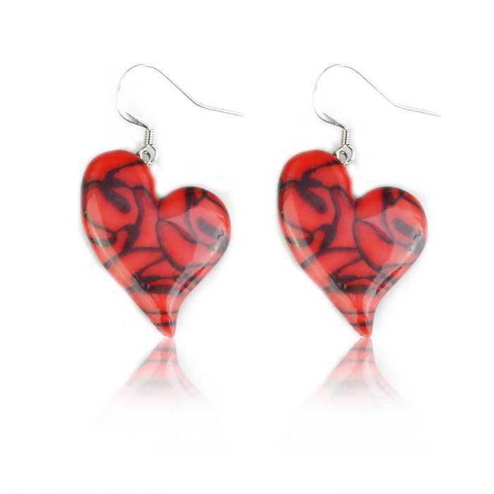 """Boucles d'oreilles """"Liz'Créations - Coeur Rouge"""" en argile polymère"""
