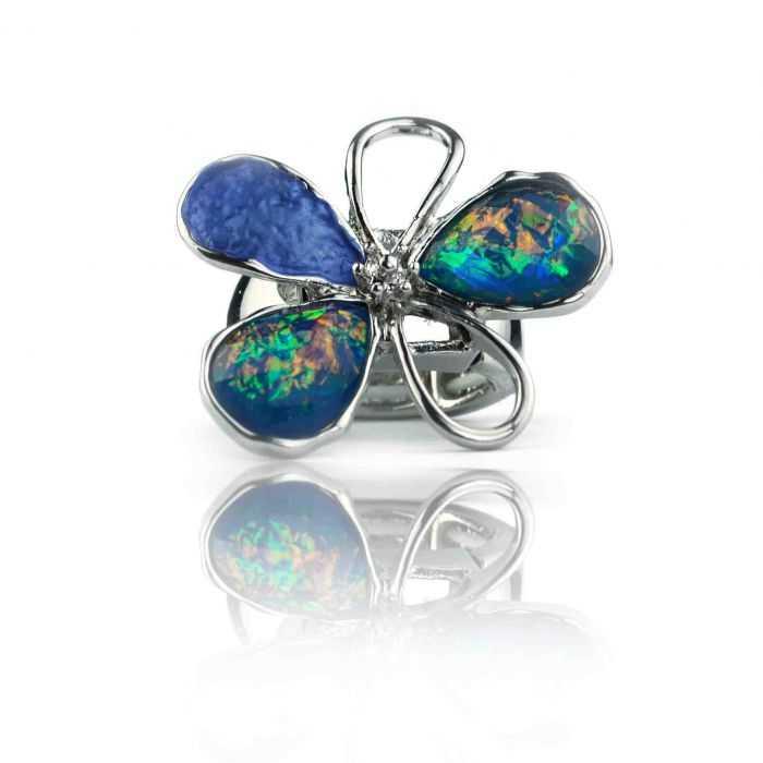 """Bague fantaisie """"Ikita - Designed Flower"""" en métal argenté et résine"""