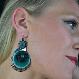 """Boucles d'oreilles fantaisie """"Ikita - Boho"""" en métal argenté et émail"""