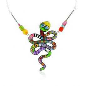 """Collier """"Le Loup Garou - Serpent"""" en métal argenté peint"""