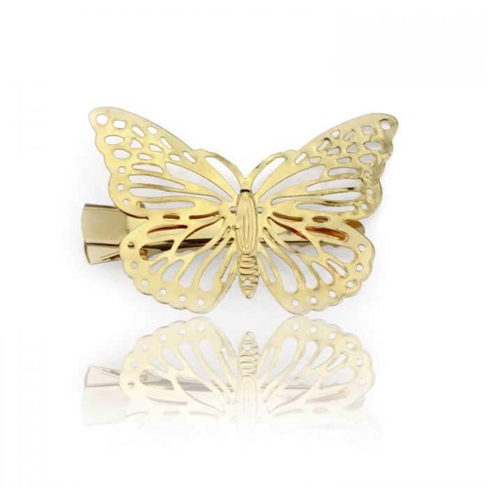 """Mini pince à cheveux """"Papillon doré"""" en métal doré"""