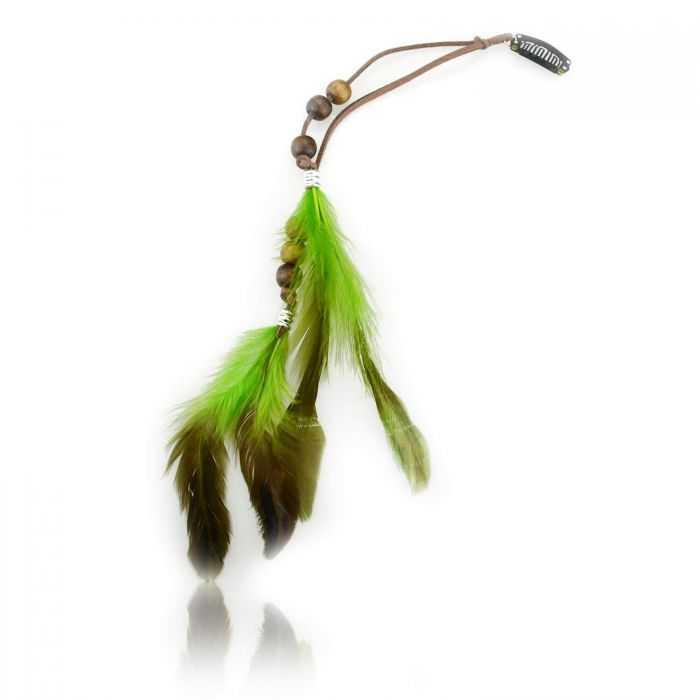 """Barrettes """"Feather"""" en plumes, perles de bois et cordon"""