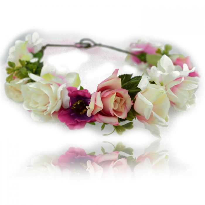 """Couronne de fleurs """"Printemps"""" en tissu"""