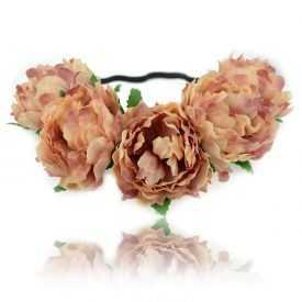 "Headband / Couronne de fleur ""Pivoines"" en tissu"