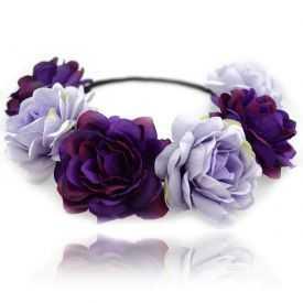 """Headband / Couronne de fleur """"Purple Roses"""" en tissu"""