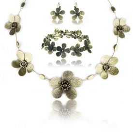"""Parure élastiqué """"Ikita - Fleur métallisée"""" en métal doré"""