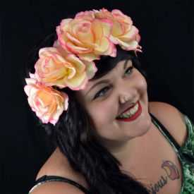 "Headband / Couronne de fleur ""Very Big Roses"" en tissu"
