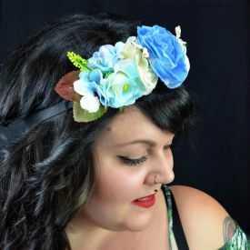 """Headband / Couronne de fleurs """"Mixed"""" en tissu"""