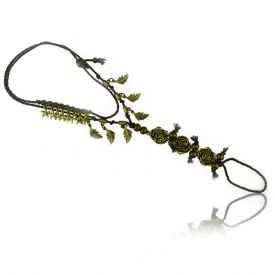 """Bracelet de cheville """"Souvenirs"""" en métal bronze et cordon"""
