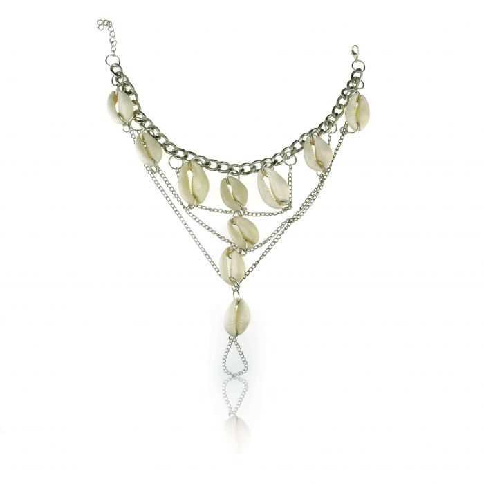 """Bracelet de cheville """"Cories"""" en métal argent et coquillageé"""