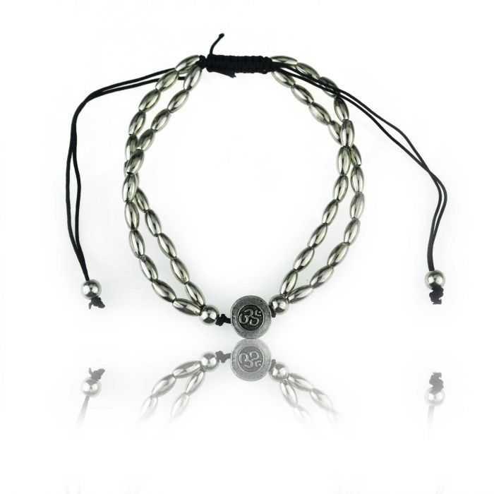"""Bracelet de cheville """"Aum"""" en métal argenté"""