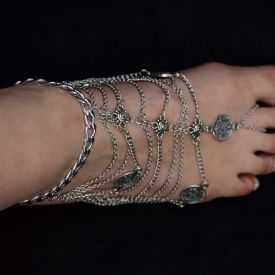 """Bracelet de cheville """"Sanskrit"""" en métal"""