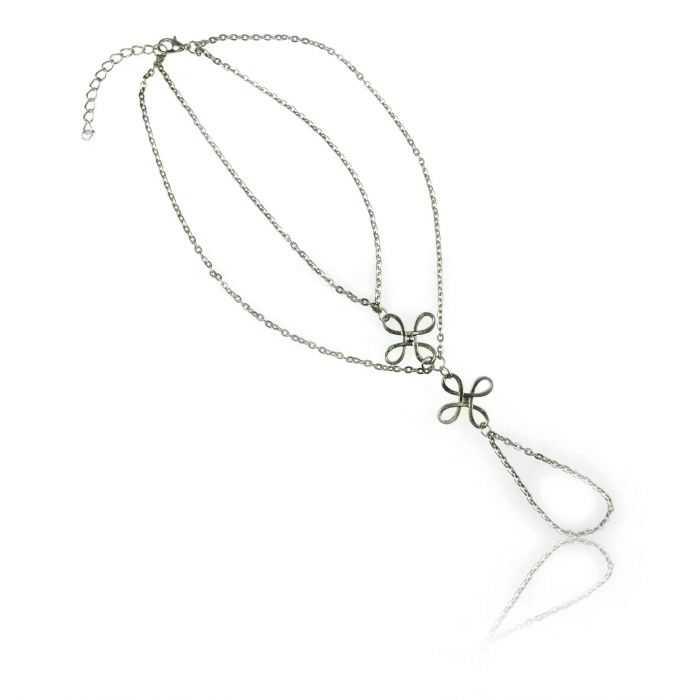 """Bracelet de cheville """"Clover"""" en métal argenté"""