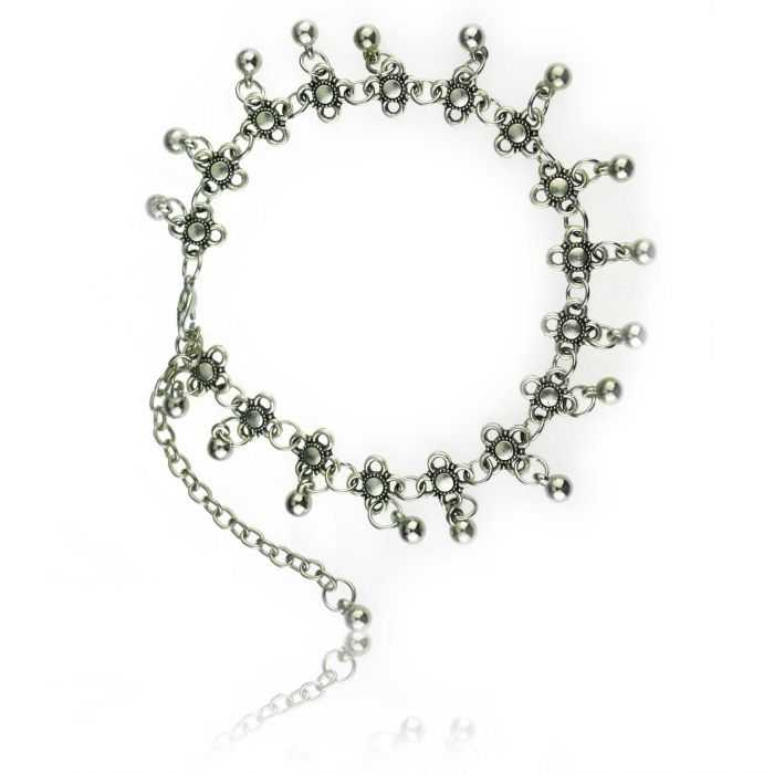"""Bracelet de cheville """"Chance"""" en métal argenté"""