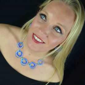 """Parure fantaisie """"Ikita - Circles"""" en métal argenté et émail - bleu"""