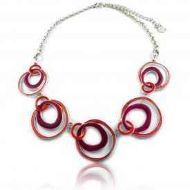 """Parure fantaisie """"Ikita - Circles"""" en métal argenté et émail - rouge"""