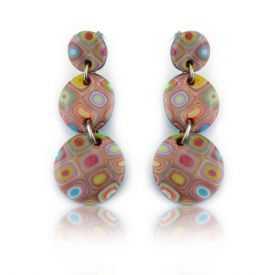 """Boucles d'oreilles """"Liz Créations - 3 ronds Klimt"""" en argile polymère"""